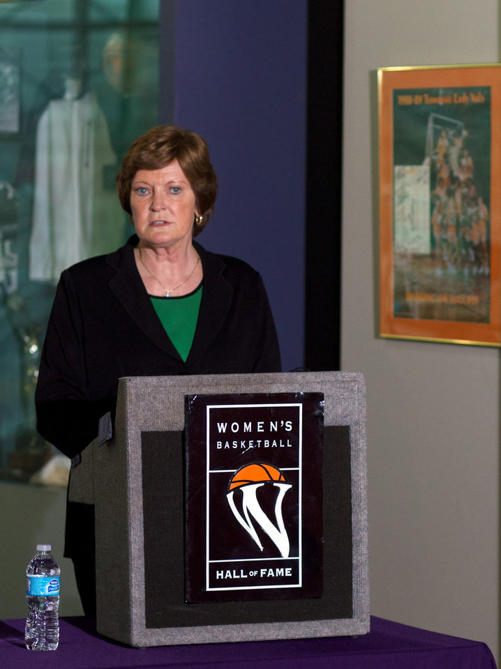 Tennessee women's basketball head coach emeritus Pat Summitt talks about 'We Back Pat' week in which SEC member institutions will be offering support of the Pat Summitt Foundation during their home women's basketball games Tuesday, Jan. 15, 2013, in Knoxville, Tenn. Summitt announced in the summer of 2011 that she has early-onset dementia, Alzheimer's type. (AP Photo/Chad Greene, Knoxville News Sentinel)