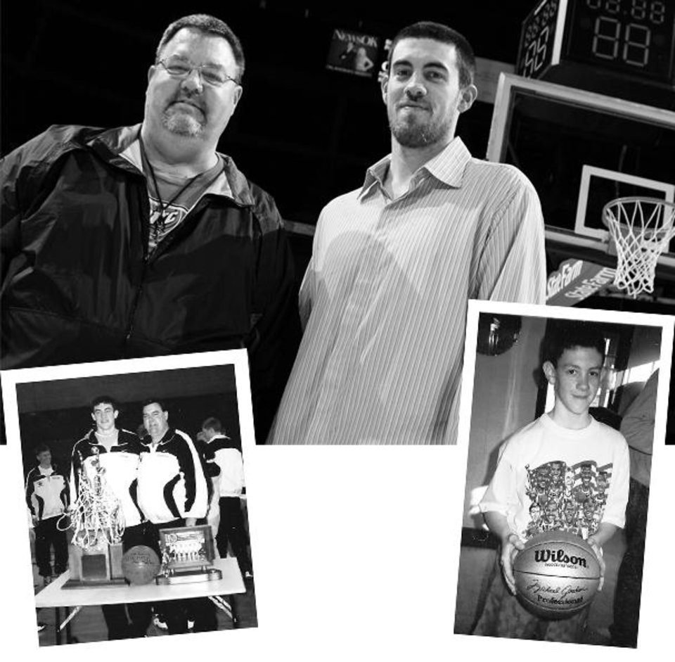 Photo - For Collison, father knew best GRAPHIC WITH PHOTOS: 1) Dave Collison, left, poses for a photo with his son Nick Collison of the Thunder after the NBA basketball game between the Chicago Bulls and the Oklahoma City Thunder at the Ford Center in Oklahoma City, Wednesday, March 18, 2009. Chicago won, 103-96. PHOTO BY NATE BILLINGS, THE OKLAHOMAN 2) Nick with his dad after winning a state title in 1998. Nick was Iowa's Class 2A player of the year, and then was Iowa's Mr. Basketball along with Kirk Hinrich following his senior year. (Photo unavailable) 3) Nick with one of his most prized possessions, a Michael Jordan basketball that was given to him by his grandmother. (Photo unavailable)		ORG XMIT: 0903212134034456
