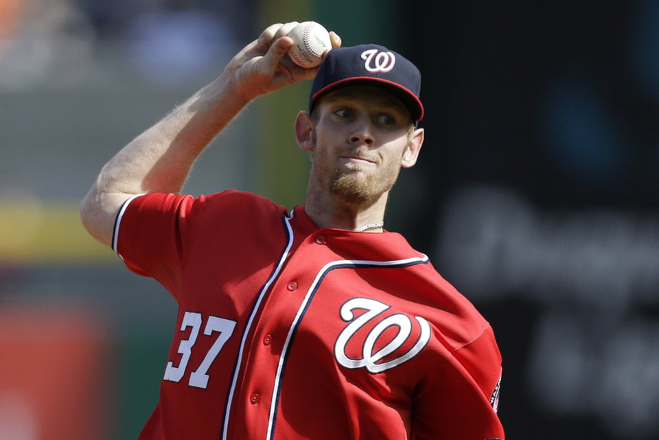 Washington Nationals starting pitcher Stephen Strasburg (37) throws in the first inning of a baseball game against the Pittsburgh Pirates in Pittsburgh Saturday, May 4, 2013. (AP Photo/Gene J. Puskar)