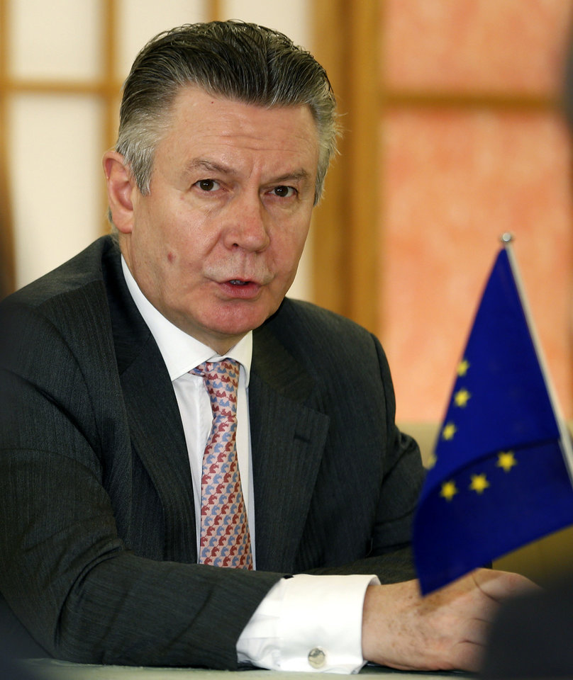 Photo - European Trade Commissioner Karel De Gucht speaks during a meeting with Japanese Foreign Minister Fumio Kishida at Japan's Foreign Ministry in Tokyo, Monday, March 25, 2013. Japan's prime minister will discuss a possible free trade pact with the European Union even as a summit in Tokyo to launch the negotiations is postponed because of the financial crisis in Cyprus. De Gucht is in Tokyo and meeting with Japanese government and business officials as scheduled. (AP Photo/Shizuo Kambayashi)
