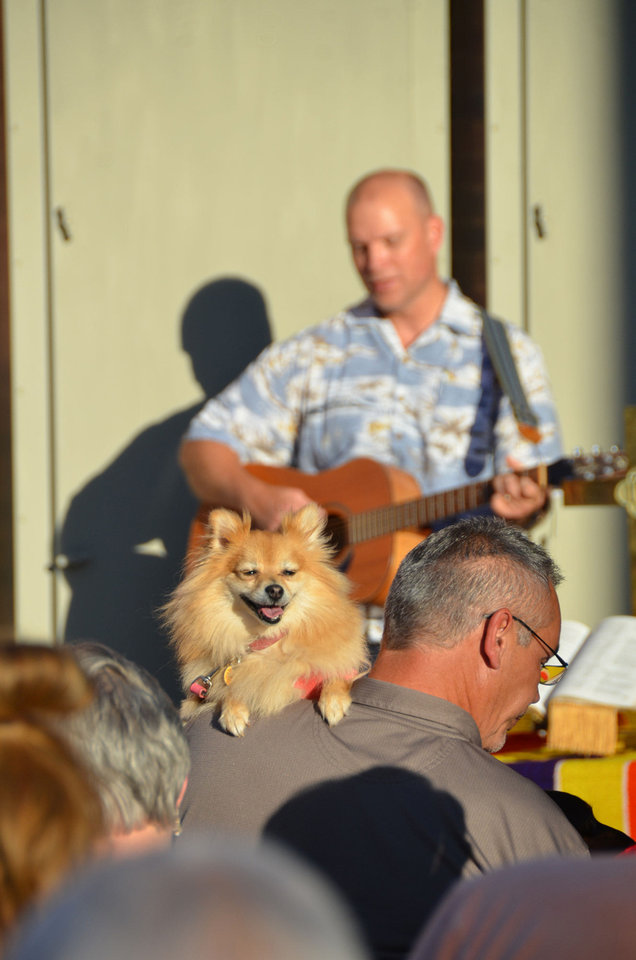Derek Smithee sings   Sept. 9 while church members and their pets listen during the blessing of the animals at First United Methodist Church in Edmond. Photo by Big Bigler, The Oklahoman <strong>Ben Bigler - The Oklahoman</strong>