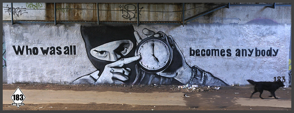Photo - A work of Russian street artist Pasha P183 is shown in this image taken from his website. A prominent Russian graffiti artist that hid his identity under alias Pasha P183 and has been compared to Britain's Banksy for his bold style and anonymity has died in Moscow Monday at the age of 29. The Teatralnoye Delo theatrical production company announced Wednesday April 3, 2013, the artist died on Monday without elaborating. (AP Photo/183art.ru)