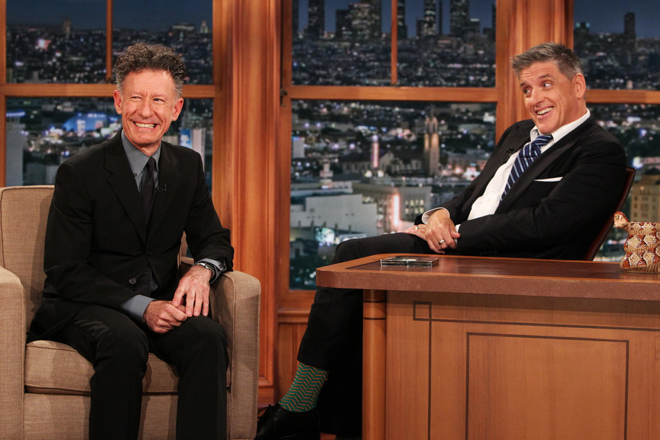Photo - This Wednesday, April 23, 2014 photo released by CBS shows Lyle Lovett, left, and Craig Ferguson on