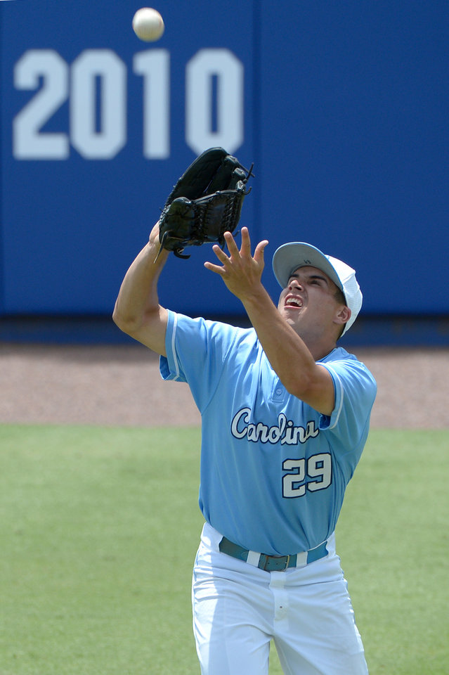 Photo - North Carolina right fielder Tyler Ramirez (29) catches a fly ball hit by Long Beach State's Colton Vaughn during the eighth inning of an NCAA college baseball regional tournament game in Gainesville, Fla., Monday, June 2, 2014. Long Beach State won 12-5.(AP Photo/Phelan M. Ebenhack)