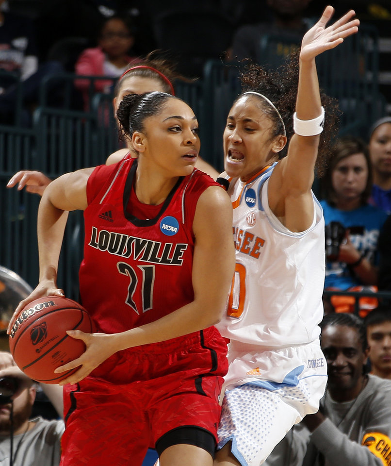 Louisville's Bria Smith (21) tries to get past Tennessee's Meighan Simmons (10) during the Oklahoma City Regional for the NCAA women's college basketball tournament  between the University of Tennessee and Louisville at Chesapeake Energy Arena in Oklahoma City, Tuesday, April 2, 2013. Photo by Bryan Terry, The Oklahoman