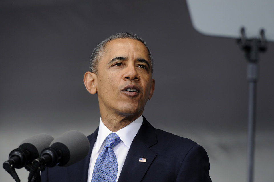 Photo - President Barack Obama delivers the commencement address to the U.S. Military Academy at West Point's Class of 2014, in West Point, N.Y., Wednesday, May 28, 2014. In a broad defense of his foreign policy, the president declared  that the U.S. remains the world's most indispensable nation, even after a