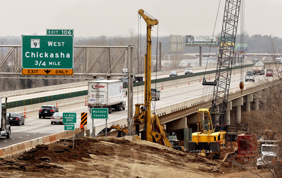 Work begins on a widening project at the Canadian River bridge, south of Norman.  PHOTO BY STEVE SISNEY, THE OKLAHOMAN
