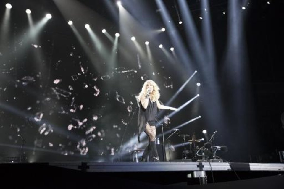 "Checotah native Carrie Underwood performing at ""C2C"" in London."