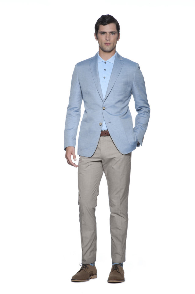 From Banana Republic's Mad Men spring 2013 collection, this outfit features slim, short khaki pants with a light blue blazer and button-up polo shirt. Photo provided. <strong>Greg Kessler</strong>