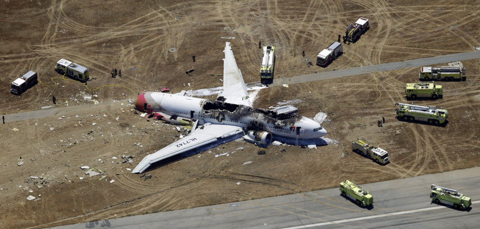 FILE - In this Saturday, July 6, 2013 aerial file photo, the wreckage of the Asiana Flight 214 airplane is seen after it crashed at the San Francisco International Airport in San Francisco, Saturday, July 6, 2013. The National Transportation Safety Board says it is now planning to hold its hearing Wednesday, Dec. 11, 2013, into the crash-landing of the Asiana jet that left three Chinese teens dead.  (AP Photo/Marcio Jose Sanchez, File)