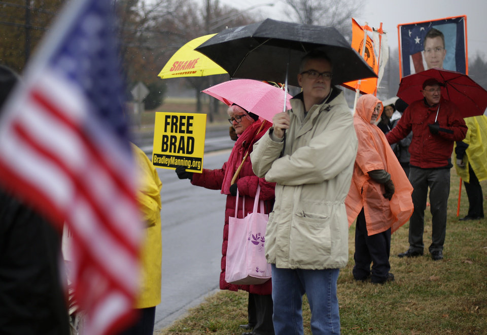 Photo -   Demonstrators stand in support of Army Pfc. Bradley Manning outside of Fort Meade, Md., Tuesday, Nov. 27, 2012, where Manning is scheduled to appear for a pretrial hearing. Manning is accused of sending hundreds of thousands of classified Iraq and Afghanistan war logs and more than 250,000 diplomatic cables to the secret-spilling website WikiLeaks while he was working as an intelligence analyst in Baghdad in 2009 and 2010. (AP Photo/Patrick Semansky)