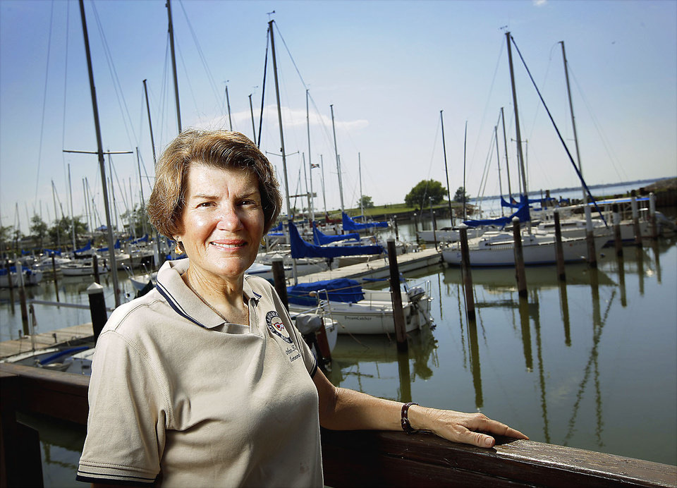 Ann Kilpatrick, OKC Boat Club commodore, poses for a photo at Lake Hefner. Photo by Bryan Terry, The Oklahoman