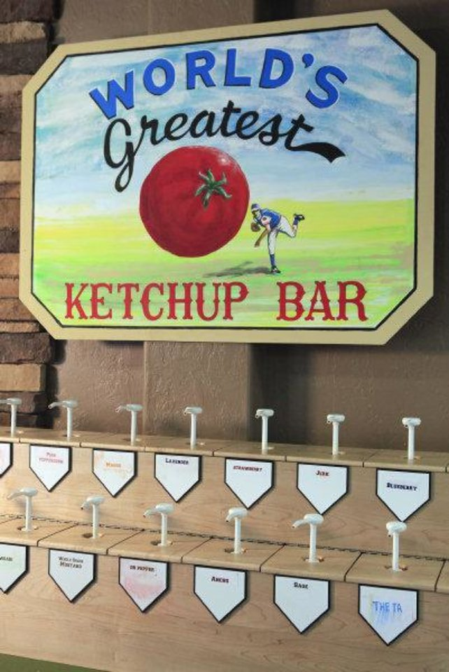 The Ketchup Bar at Home Run Sliders in Edmond. Photo by David McDaniel, The Oklahoman <strong>David McDaniel</strong>