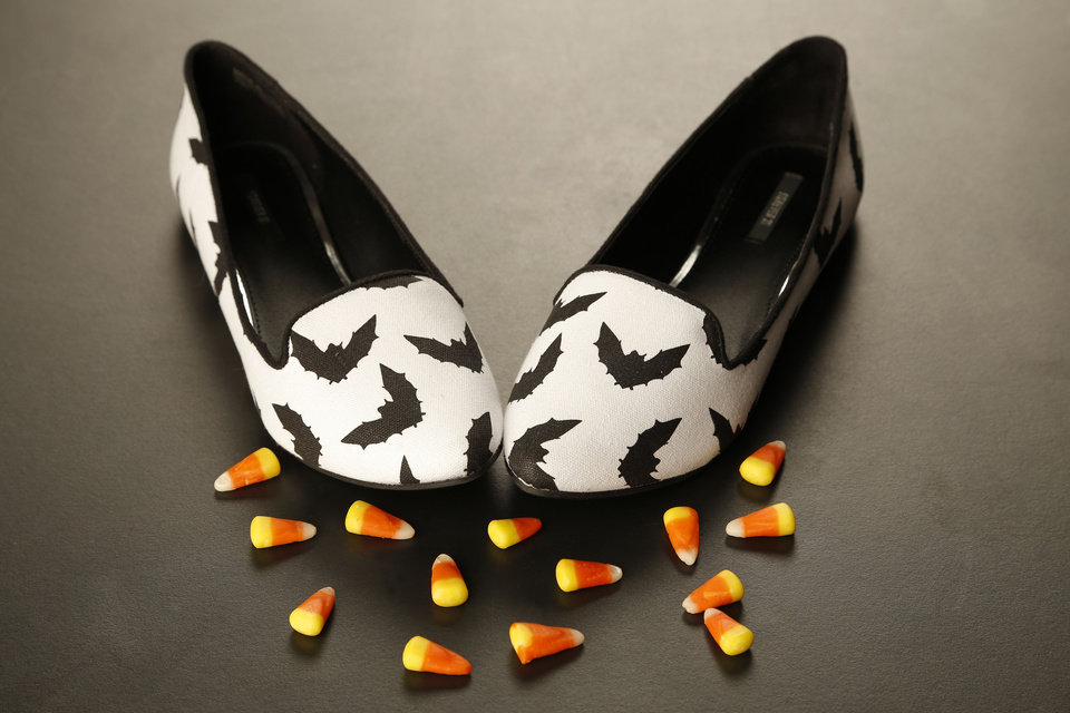 Photo - These bat-print loafers are sold at Forever 21 stores. PHOTO BY DOUG HOKE, THE OKLAHOMAN  DOUG HOKE