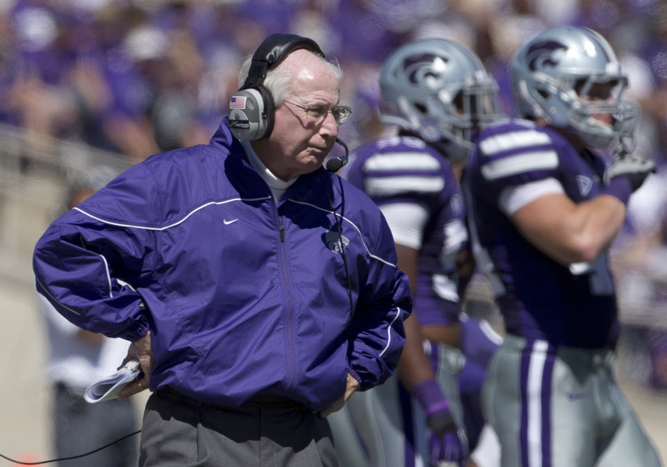 Kansas State coach Bill Snyder watches from the sideline during the second half of an NCAA football game against Miami in Manhattan, Kan., Saturday, Sept. 8, 2012. Kansas State defeated Miami 52-13. (AP Photo/Orlin Wagner) ORG XMIT: KSOW113