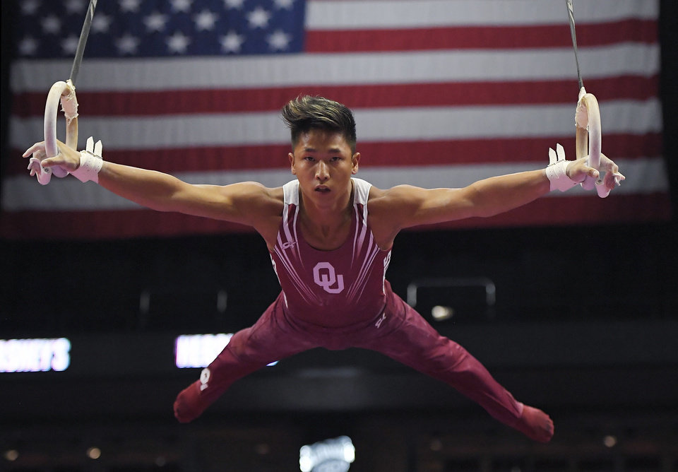 Photo - CORRECTS SPELLING TO YUL, INSTEAD OF YUP  - Yul Moldauer competes on the rings during the men's final round of the U.S. gymnastics championships, Saturday, Aug. 19, 2017, in Anaheim, Calif. Moldauer won the all-around title. (AP Photo/Mark J. Terrill)