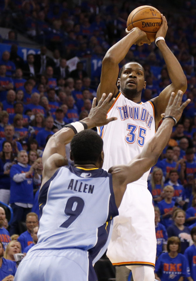 Photo - Oklahoma City's Kevin Durant (35) shoots over Memphis' Tony Allen (9) during Game 7 in the first round of the NBA playoffs between the Oklahoma City Thunder and the Memphis Grizzlies at Chesapeake Energy Arena in Oklahoma City, Saturday, May 3, 2014. Photo by Nate Billings, The Oklahoman