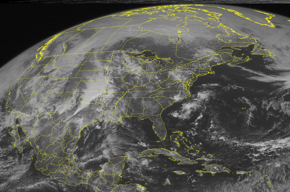 This NOAA satellite image taken Monday, March 19, 2012 at 10:45 AM EDT shows dense cloud cover over much of the Plains as active weather ramps up across the region. Energy from a cold front extending through the Plains meets with ample moisture spreading across the region from the Gulf of Mexico to produce significant rain and thunderstorms from northern Texas through eastern South Dakota. Additional bands of heavy rainfall and thunderstorms form in parts of Arkansas and Missouri this afternoon. These storms are expected to intensify this afternoon. There is a moderate risk of severe weather activity for extreme western Arkansas, southeastern Oklahoma, and central/northeastern Texas. The strongest of these storms are expected to produce damaging winds, large hail, and a few tornadoes. A second area of severe storms are expected across central Texas later tonight, continuing the risk for damaging wind gusts and hail. In addition to severe storms, these areas will see very heavy rainfall and possible flooding due to repeated thunderstorm activity. There is also a slight risk of severe weather from south-central Texas to Missouri and eastern Dakotas/western Minnesota through tonight. These storms may produce damaging winds, large hail, and tornadoes in rotating storms. Elsewhere, light showers and thunderstorms form in southern Wisconsin and parts of North Carolina, while above normal temperatures continue to dominate the eastern half of the nation. (AP PHOTO/WEATHER UNDERGROUND)