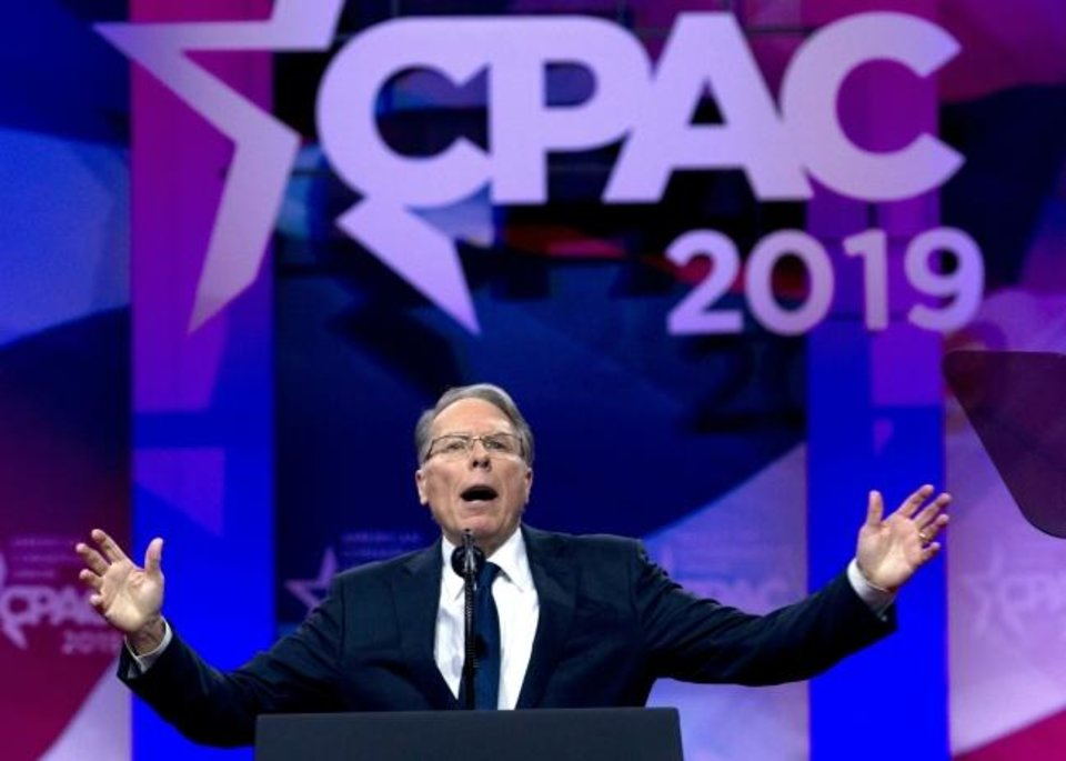 Photo -  NRA Executive Vice President and CEO Wayne LaPierre speaks at Conservative Political Action Conference, CPAC 2019, in Oxon Hill, Md., in March. [AP Photo/Jose Luis Magana]