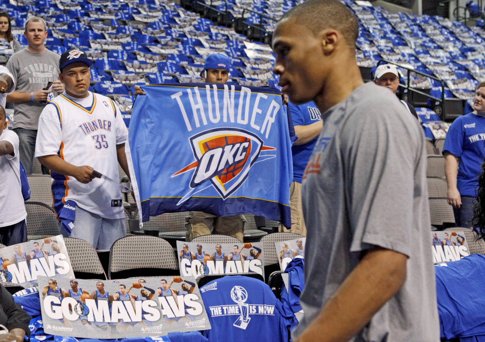 Thunder fans Wayne Cogburn, right, and Alex Aguilar of Oklahoma CIty try to get the attention of Oklahoma City\'s Russell Westbrook before game 2 of the Western Conference Finals in the NBA basketball playoffs between the Dallas Mavericks and the Oklahoma City Thunder at American Airlines Center in Dallas, Thursday, May 19, 2011. Photo by Bryan Terry, The Oklahoman