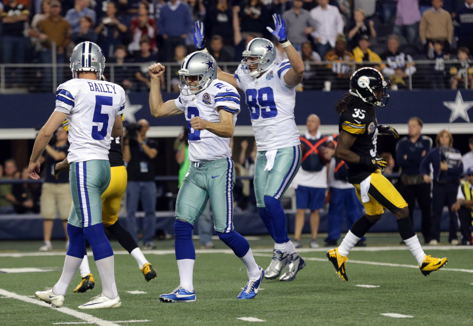 Dallas Cowboys punter Brian Moorman (2) and John Phillips (89) celebrate after kicker Dan Bailey (5) kicked a field goal to beat the Pittsburgh Steelers 27-24 in overtime of an NFL football game Sunday, Dec. 16, 2012 in Arlington, Texas. Pittsburgh Steelers' Josh Victorian (35) leaves the field. (AP Photo/LM Otero)  ORG XMIT: CBS145
