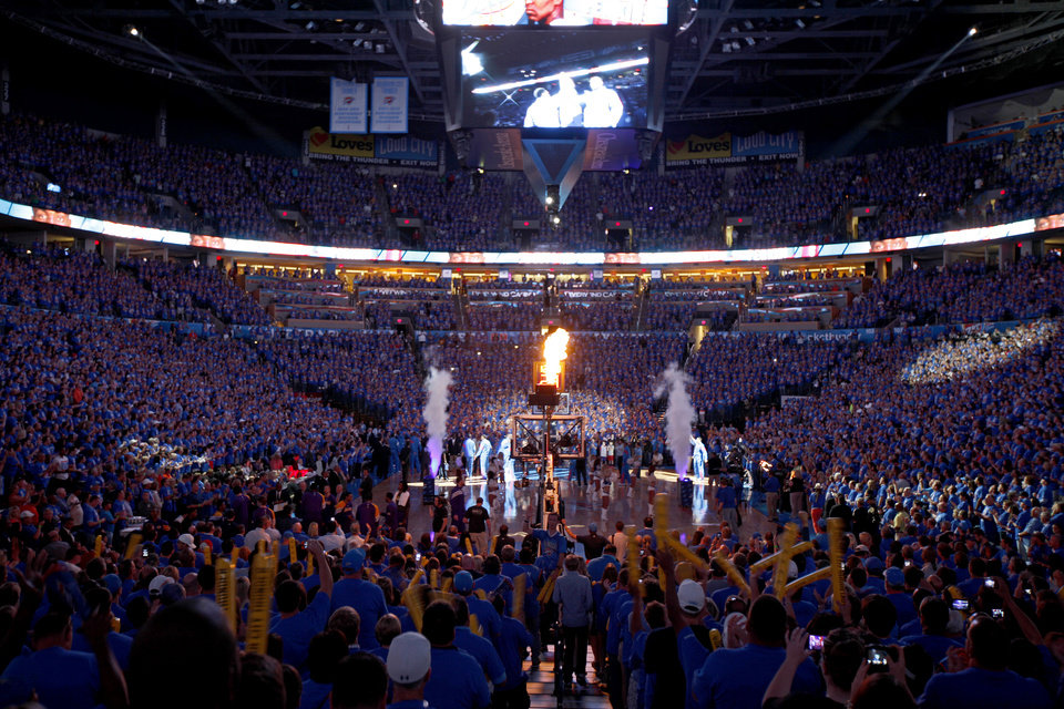 The crowd cheers as the team is introduced before Game 5 in the second round of the NBA playoffs between the Oklahoma City Thunder and the L.A. Lakers at Chesapeake Energy Arena in Oklahoma City, Monday, May 21, 2012. Photo by Bryan Terry, The Oklahoman