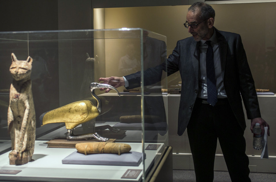 Photo - In this March 20, 2014 photo, Brooklyn Museum, Egyptian, Classical and Ancient Middle Eastern Art, curator, Edward Bleiberg points to an ibis coffin, that is displayed as part of the exhibit