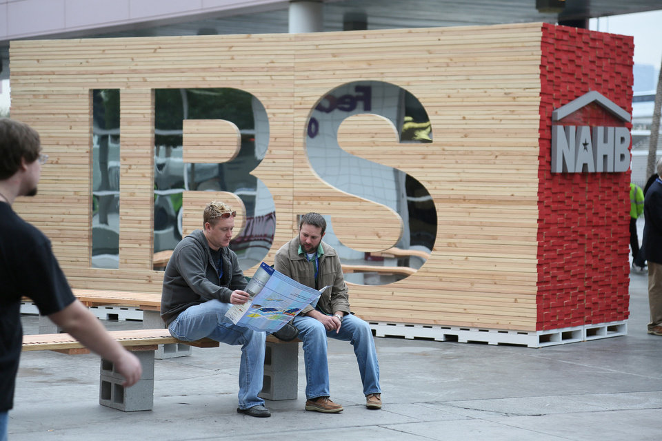 Attendees take a break from walking the exhibit floor at the International Builders Show in Las Vegas. <strong> - PROVIDED BY NATIONAL ASSOCIATION</strong>