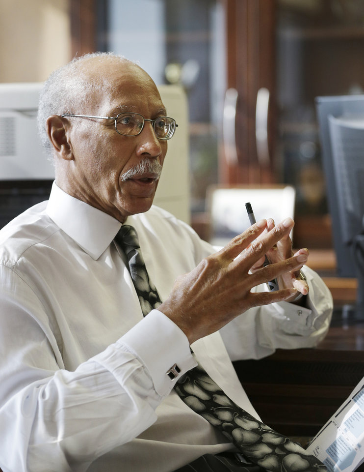 "Detroit Mayor Dave Bing is interviewed in his office, Wednesday, March 6, 2013. The mayor says he believes Michigan Gov. Rick Snyder will appoint an emergency manager over the city's finances and that he ""intends to work collaboratively"" with that person. Bing says he's considering whether to appeal a determination by a state-appointed review team and Snyder that Detroit has not put forward a plan to resolve the city's serious financial problem. (AP Photo/Carlos Osorio)"