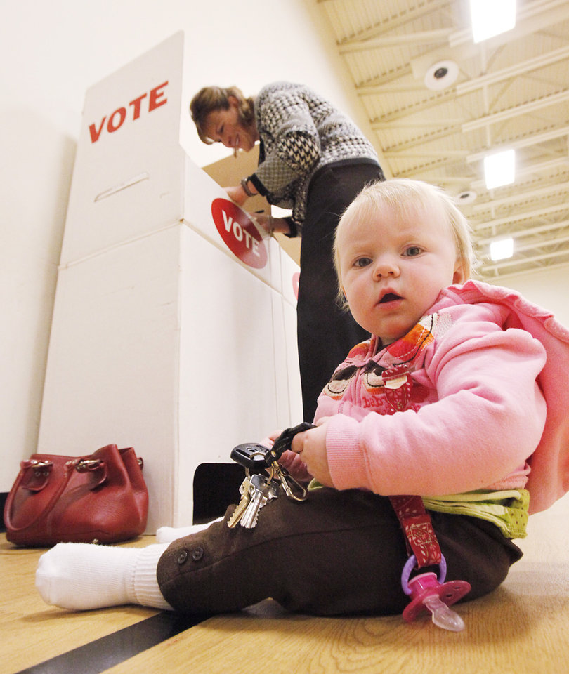Tessa Mills, 10 months, plays with her mother Elizabeth\'s keys while she votes at Deer Creek Middle School, Tuesday, November 2, 2010. Staff photo by David McDaniel, The Oklahoman