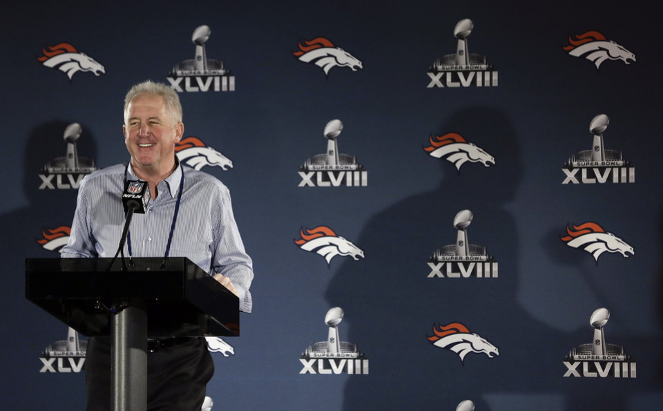 Photo - Denver Broncos head coach John Fox talks with reporters during a news conference Monday, Jan. 27, 2014, in Jersey City, N.J. The Broncos are scheduled to play the Seattle Seahawks in the NFL Super Bowl XLVIII football game Sunday, Feb. 2, in East Rutherford, N.J. (AP Photo/Mark Humphrey)