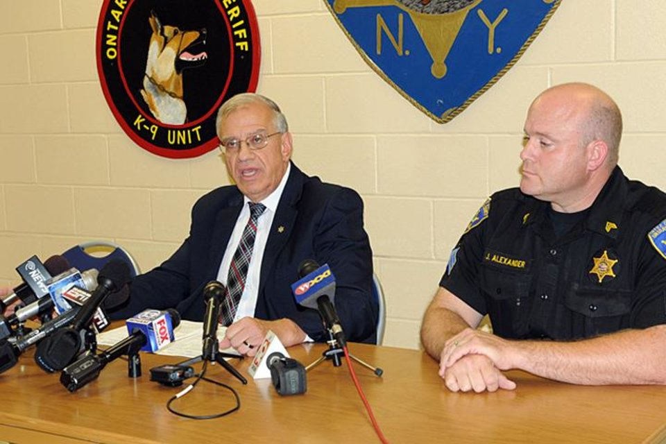 Photo - Ontario County Sheriff Philip Povero, left, at a news conference  Sunday Aug. 10, 2014, in Canandaigua , N.Y., says that investigators don't have any evidence at this point to support criminal intent in the fatal crash that killed Kevin Ward Jr., and involved racing superstar Tony Stewart. At right is Sergeant James Alexander.  (AP Photo/The Daily Messenger, Melody Burri)