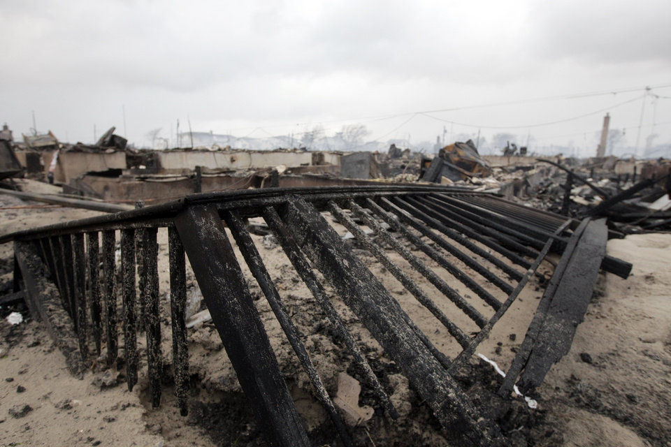 Photo -   Damage caused by a fire at Breezy Point is shown Tuesday, Oct. 30, 2012, in New York. The fire destroyed between 80 and 100 houses in the flooded neighborhood. More than 190 firefighters have contained the six-alarm blaze fire in the Breezy Point section, but they are still putting out some pockets of fire. (AP Photo/Frank Franklin II)