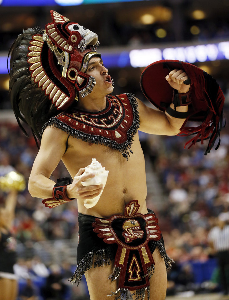 Photo - The San Diego State mascot during a game between the University of Oklahoma and San Diego State in the second round of the NCAA men's college basketball tournament at the Wells Fargo Center in Philadelphia, Friday, March 22, 2013. Photo by Nate Billings, The Oklahoman