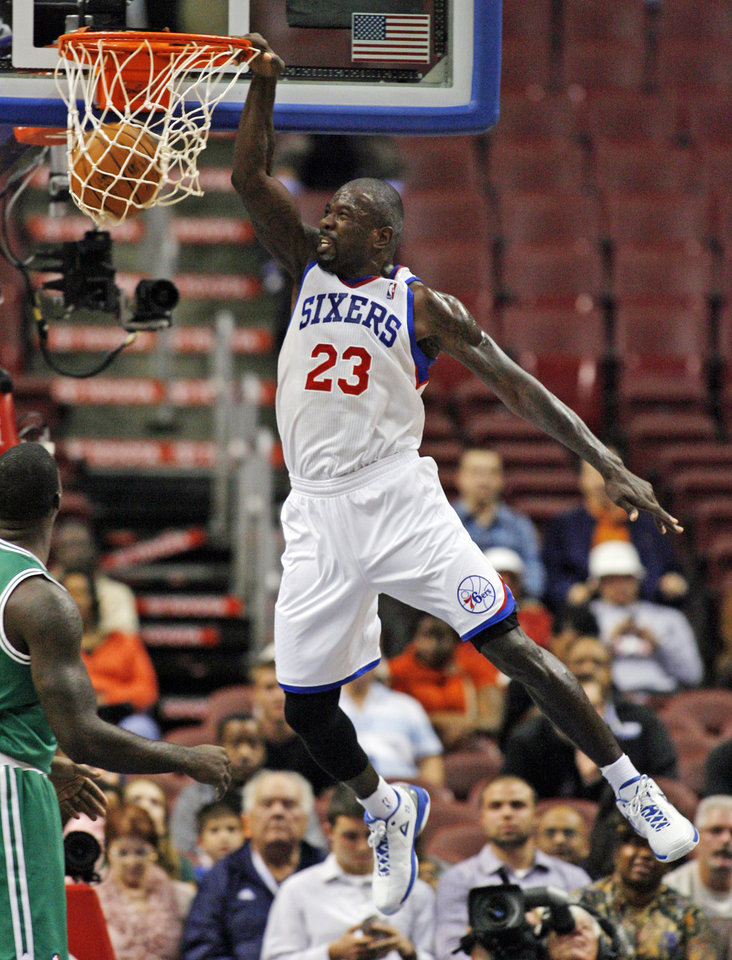 Photo -   Philadelphia 76ers' Jason Richardson (23) dunks against the Boston Celtics in the first half of an NBA preseason basketball game, Monday Oct. 15, 2012, in Philadelphia. (AP Photo/H. Rumph Jr)
