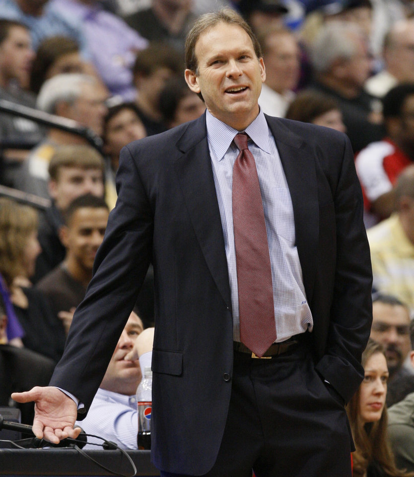 Minnesota Timberwolves head coach Kurt Rambis disagrees with a call during the third quarter of an NBA basketball game against the Los Angeles Lakers in Minneapolis, Friday, April 9, 2010. The Lakers beat the Timberwolves 97-88. (AP Photo/Ann Heisenfelt) ORG XMIT: MNAH107
