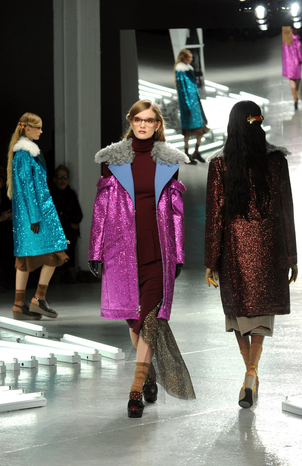 Photo - The Rodarte Fall 2014 collection is modeled during Fashion Week in New York, Tuesday, Feb. 11, 2014. (AP Photo/Diane Bondareff)