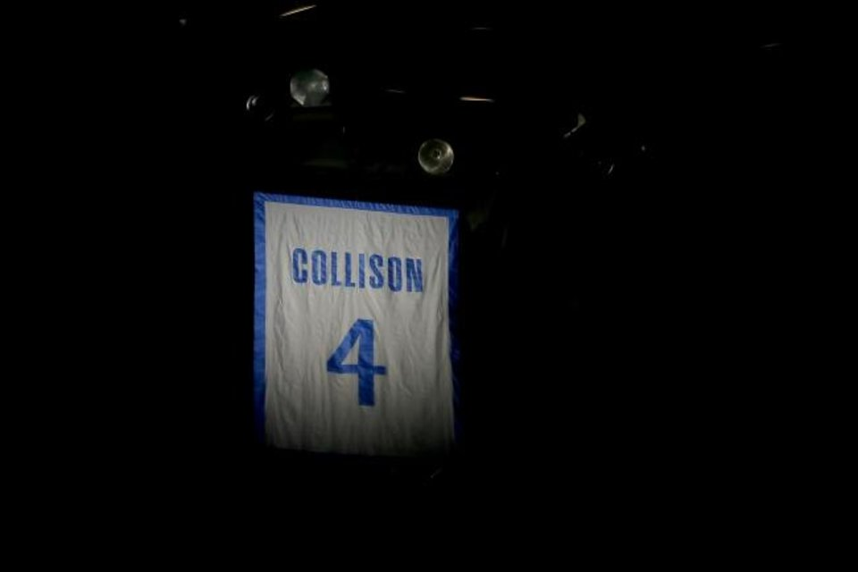 Photo -  Nick Collison's jersey number is seen in the rafters at Chesapeake Energy Arena. [Bryan Terry/The Oklahoman]