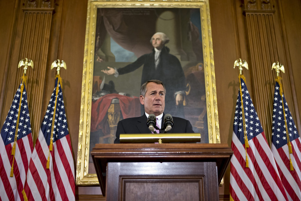 "In this Nov. 7, 2012, photo House Speaker John Boehner, R-Ohio, talks about the elections and the unfinished business of Congress at the Capitol in Washington. President Barack Obama is setting out to leverage his re-election into legislative success in an upcoming showdown with congressional Republicans over taxes, deficits and the impending ""fiscal cliff."" Boehner says Republicans are willing to consider some form of higher tax revenue as part of the solution _ but only under what he calls ""the right conditions."" (AP Photo/J. Scott Applewhite)"