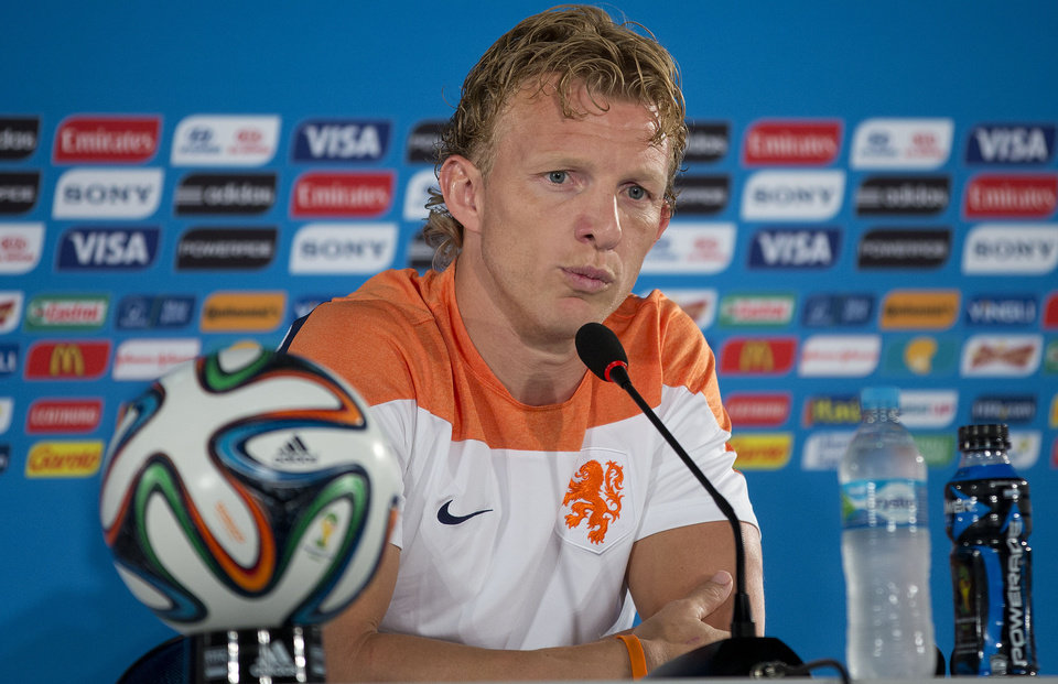 Photo - Netherlands' Dirk Kuyt attends a news conference at the Estadio Nacional in Brasilia, Brazil, Friday, July 11, 2014. The Netherlands will face Brazil in the World Cup third-place match Saturday. (AP Photo/Andre Penner)