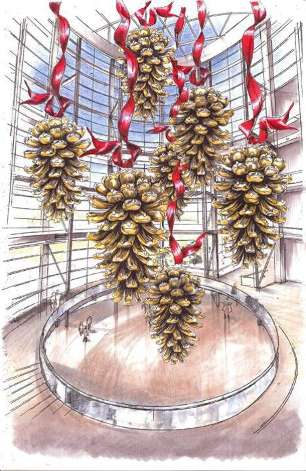This drawing shows large holiday pine cone sculptures that will hang from the Rotunda at Devon Energy Center. Photo provided