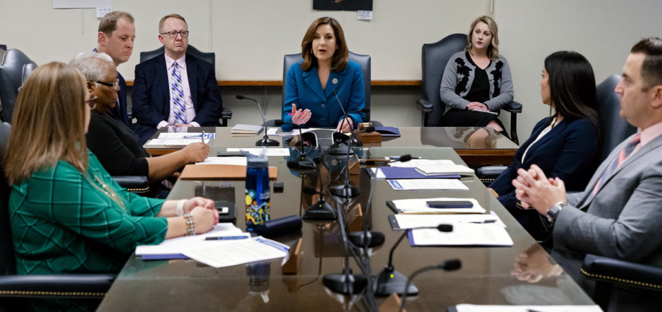 Photo - Oklahoma's State Superintendent of Public Instruction, Joy Hofmeister speaks during an emergency meeting of the Oklahoma State Department of Education in Oklahoma City, Okla. on Monday, March 16, 2020 to announce the closing of public school till April 6 to combat the spread of the Coronavirus.  [Chris Landsberger/The Oklahoman]