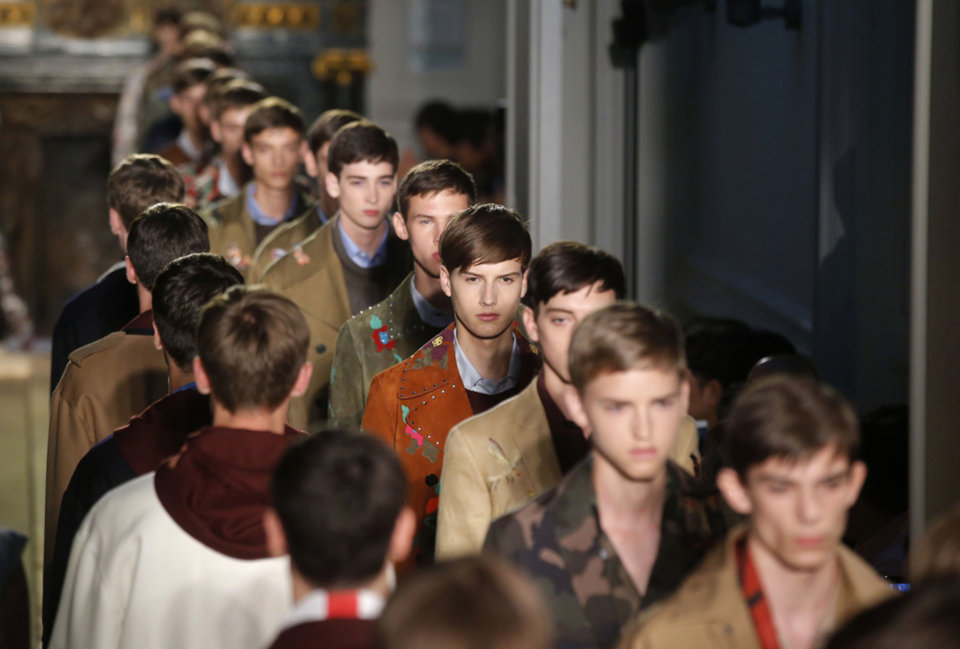 Photo - Models wear creations as part of Valentino men's Spring-Summer 2015 fashion collection, presented in Paris Wednesday, June 25, 2014. (AP Photo/ Michel Euler)