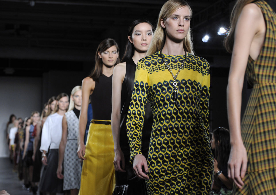Photo -   The Derek Lam Spring, 2013 collection is modeled during Fashion Week, Sunday, Sept. 9, 2012, in New York. (AP Photo/Louis Lanzano)