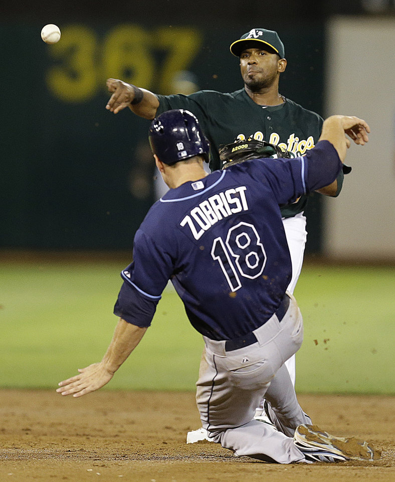 Photo - Tampa Bay Rays' Oakland Athletics second baseman Alberto Callaspo throws over Ben Zobrist to complete a double play in the third inning of a baseball game, Friday, Aug. 30, 2013, in Oakland, Calif. Rays' Evan Longoria was out at first base on the play. (AP Photo/Ben Margot)