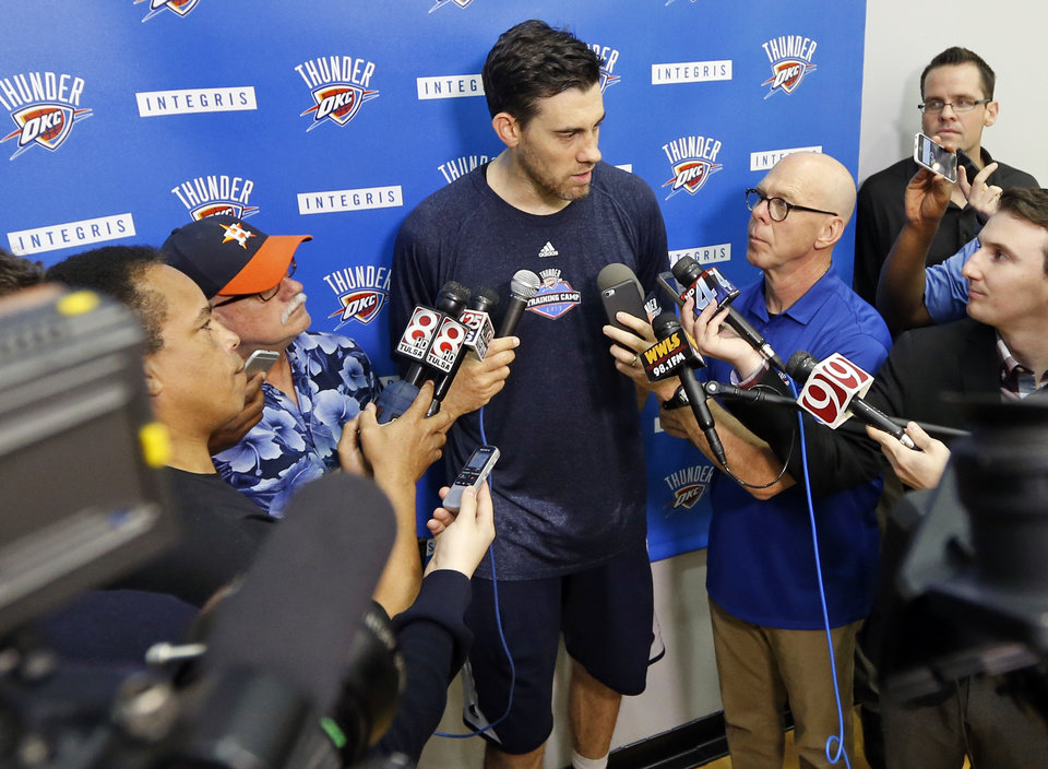 Photo - Oklahoma City's Nick Collison (4) speaks to the media after practice for the Oklahoma City Thunder at the Integris Thunder Development Center in Oklahoma City, Wednesday, April 27, 2016. Photo by Nate Billings, The Oklahoman