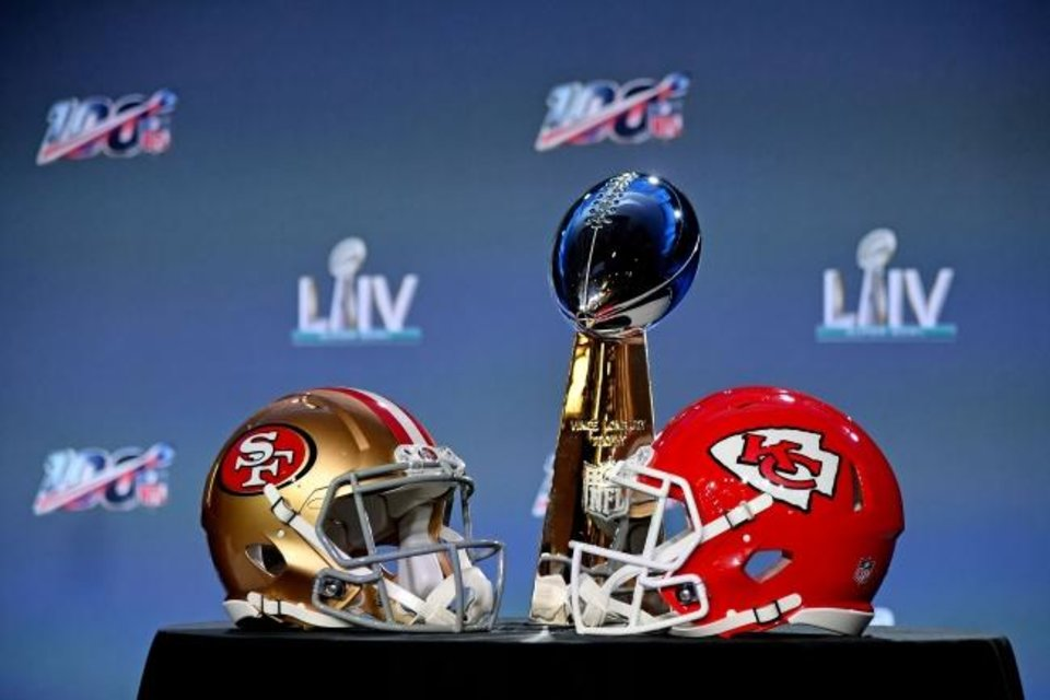 Photo -  Jan 29, 2020; Miami, Florida, USA;A general view of the helmets of the San Francisco 49ers and Kansas City Chiefs and the Vince Lombardi Trophy on display prior to NFL commissioner Roger Goodell speaking with he media in Miami Florida at the Hilton Downtown. Mandatory Credit: Jasen Vinlove-USA TODAY Sports
