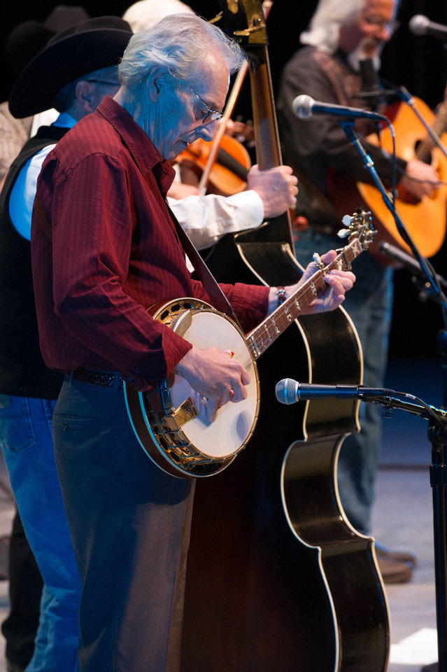 Banjo player John Hickman performs with the Byron Berline Band during a recent concert at the Armstrong Auditorium in Edmond. <strong>PHOTO BY MATT FRIESEN PROVIDED.</strong>