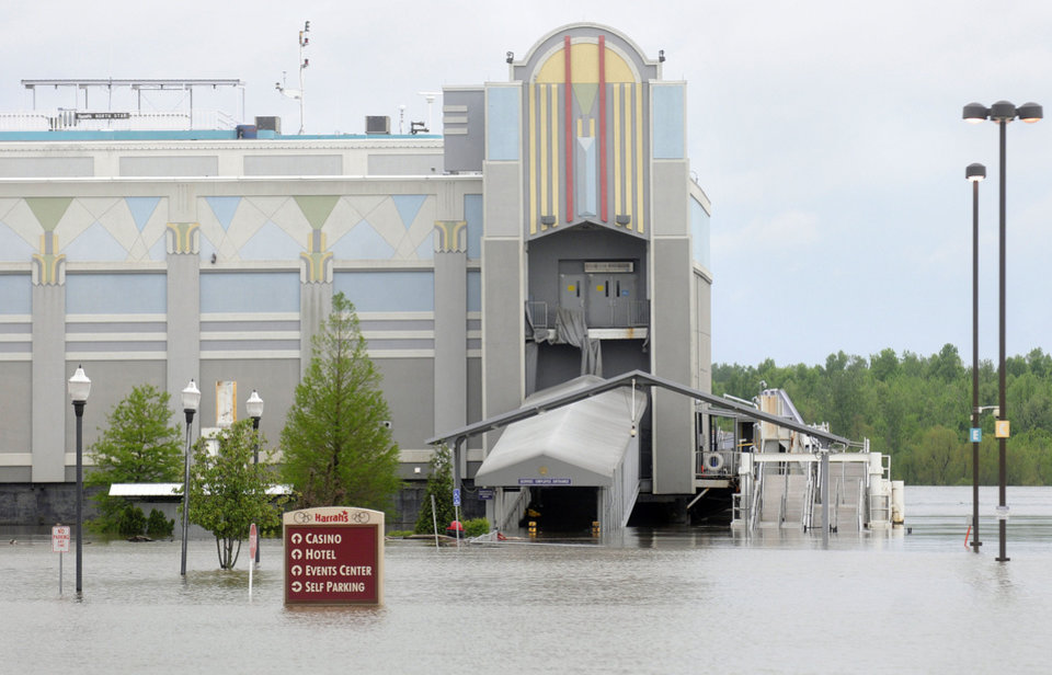 Photo - Flood waters surround The Harrah's Casino in Metropolis, Ill., Wednesday, April 27, 2011. The casino has been shut down due to rising floodwaters from the Ohio River since Sunday. (AP Photo/The Southern Illinoisan, Steve Jahnke)