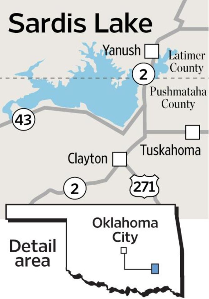 MAP / GRAPHIC: Sardis Lake - Latimer County - Pushmataha County - Yanush - Tuskahoma - Clayton